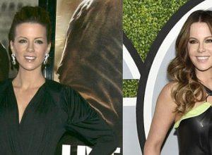 Кейт Бекинсейл в черном платье — тогда и сейчас