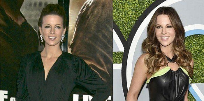 Кейт Бекинсейл в черном платье - тогда и сейчас