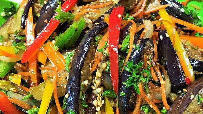 2 рецепта корейского салата из баклажанов